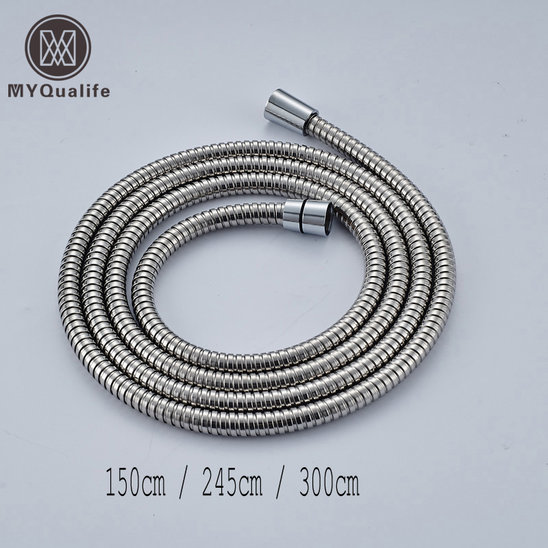 Tubo de água de banheiro, tubo de encanamento comum de aço inoxidável cromado flexível para chuveiro 1.5/2.45/3m