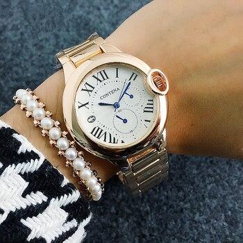 67b8d5d4d581 Lujo Top Brand mujeres reloj grande romano tres ojos Dial señora relojes de  oro rosa reloj de cuarzo montre femme 2018