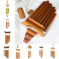 Creative Bamboo Wind Chime Handmade Natural Ring Home Decor Wind Chime Hanging Ornament Outdoor Yard Wind Bell