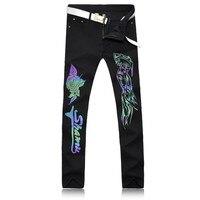 2017 nova fantasy black jeans wear new luminosa padrão de sete cores de sol inovador algodão trousers.28-38