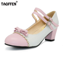 TAOFFEN Size 31-48 Women Square Heel Shoes Fashion Mix Colors Bow Shoes Women's Pumps Lady Round Toe Ankle Strap Heels Footwear
