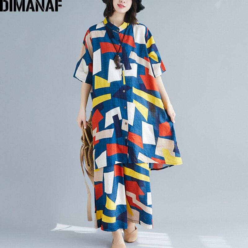 DIMANAF Plus Size Women Sets Cotton Linen Summer Female Lady Tops Shirt Loose Big Size Long Pants Set Suit Print Geometric 2019