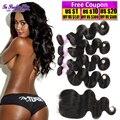 brazilian hair weave bundles brazilian body wave 4 bundles with lace closure 8a virgin hair extension ali julia virgin hair