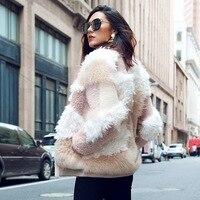 2018 new real sheep fur coat woman stand collar zip thick outwear female luxury genuine sheared lamb fur jacket long sleeve coat
