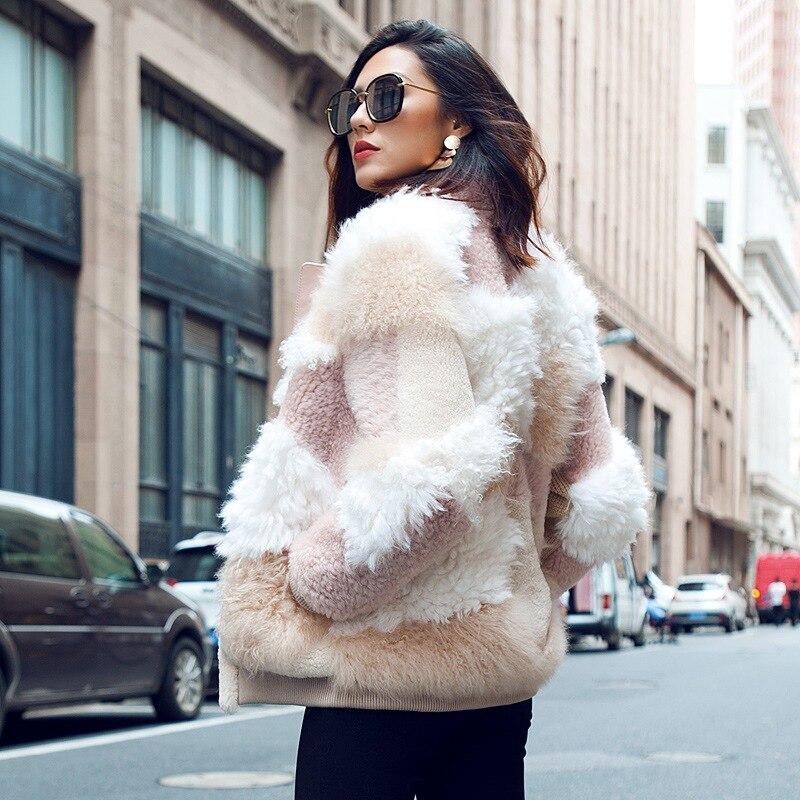 2018 nouvelle vraie fourrure de mouton manteau femme stand col zip épais manteaux femme de luxe véritable cisaillé fourrure d'agneau veste longue manches manteau