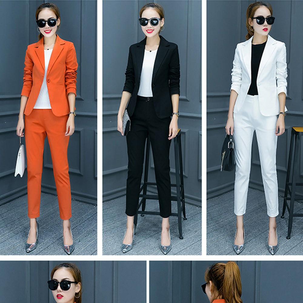2017 w nowym stylu mody OL eleganckie kobiety pant suits formalna firm garnitur nosić pełne rękawem jednego przycisku femme blazer garnitur szczupła kurtka 2