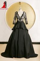 Black Lace Evening Dresses Long Sleeves V Neck Backless Prom Dress Formal Gown Plus Size Vestidos De Festa Robe De Soiree 6