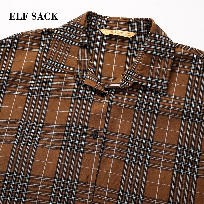 Turn Collar Casual Women Blouse down Elf Sleeve Cotton Plaid Woman Long Femme New Red Sack camel Vintage Winter Shirts OOqPHw6