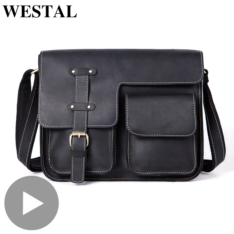 Westal Crazy Horse Genuine Leather Shoulder Business Messenger Women Men Bag Briefcase For Document Handbag Male Female Laptop