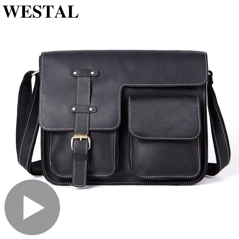 Westal Crazy Horse Genuine Leather Shoulder Business Messenger Women Men Bag Briefcase For Document Handbag Male Female Laptop