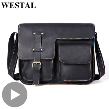 Westal Crazy Horse Genuine Leather Shoulder Business Messenger Women Men Bag Briefcase For Document Handbag Male Female Laptop handmade cowhide crazy horse genuine leather shoulder bag retro briefcase handbag for man men bussinss document case