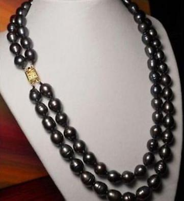 Beautiful 2 row 10 13mm AAA natural black south sea pearl necklace 17 18 inch free shipping