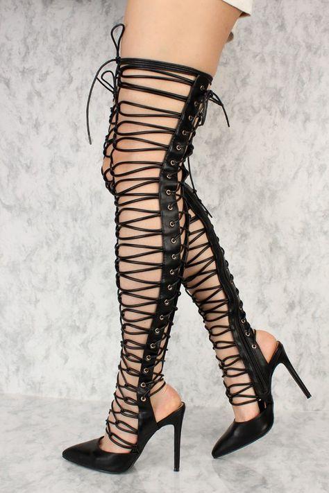 tie up thigh high sandals
