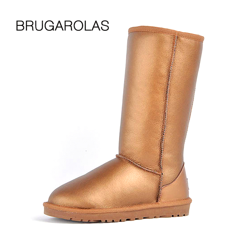 BRUGAROLAS - 100% Genuine Sheepskin Waterproof Leather Classic Snow Boots For Women snow Boots Retail hot selling Winter shoes