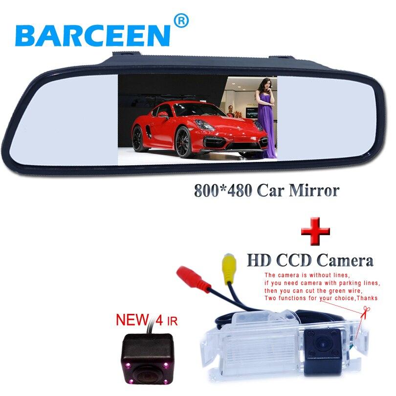 Caméra de recul de voiture filaire 4 ir avec moniteur arrière de voiture pour Kia K2 Rio hatchback ceed 2013 pour Hyundai Solaris (verna) hatchback