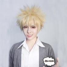 My Hero Academia Baku no Hero Bakugou Katsuki Short Linen Blonde Heat Resistant Synthetic Cosplay Costume Wig + Free Wig Cap цена