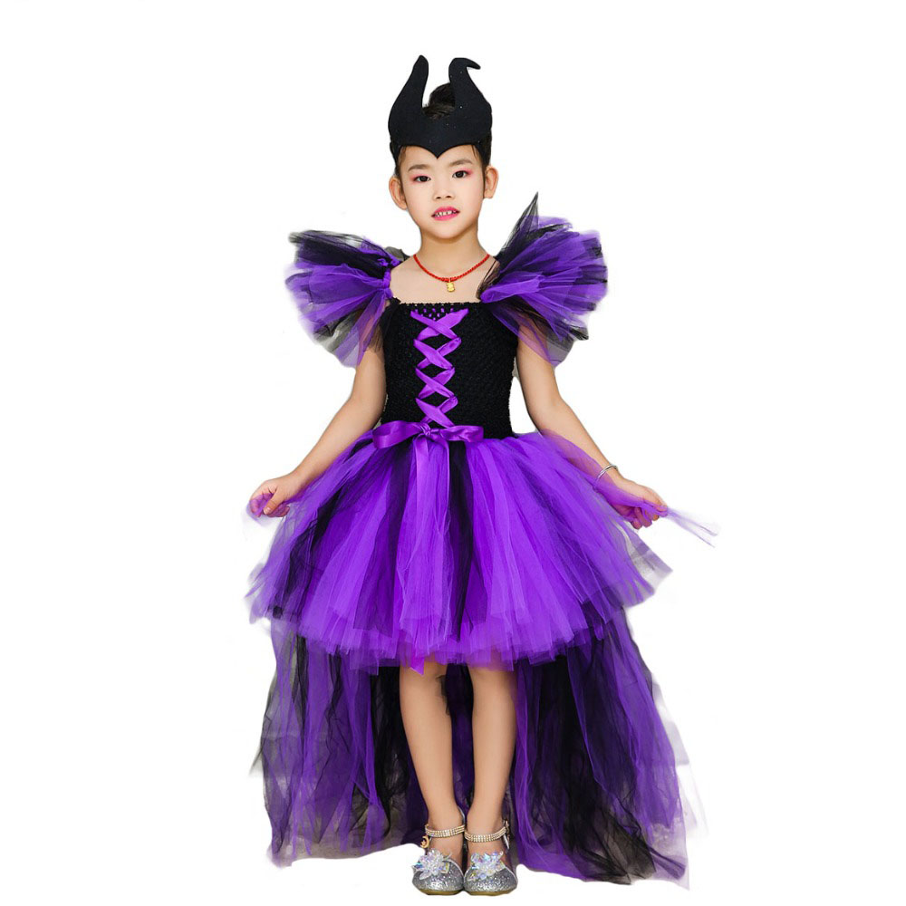 Black Purple Queen Witch Dress for Kid Halloween Puff Sleeve Maleficent Evil Queen Girl Tutu Dress 1-14Y Girls Clothes with Horn