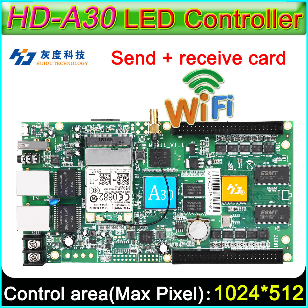 Full Color Asynchronous Controller Card,  HD-A30 WiFi large display sending card, DIY LED display screen controllerFull Color Asynchronous Controller Card,  HD-A30 WiFi large display sending card, DIY LED display screen controller