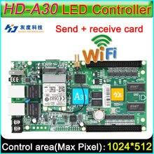 Cartão do controlador assíncrono da cor completa, HD-A30 wifi grande exibição que envia o cartão, controlador conduzido diy da tela de exibição