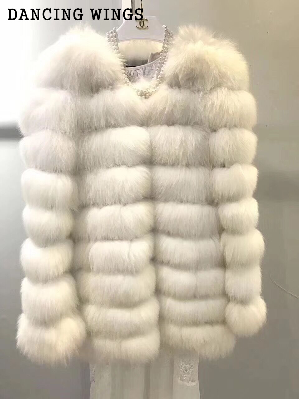 font b Women b font Warm Real Fox Fur Coat Casual Round Neck Medium Long