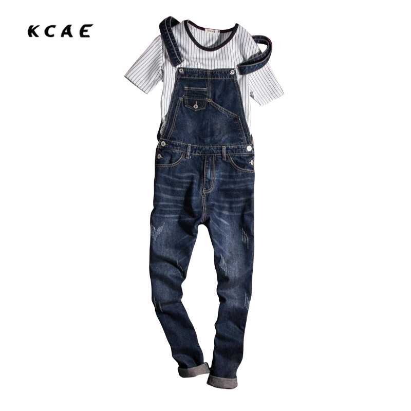 New Mens Overalls Fashion Vintage Ripped Jeans Pants Blue Male Denim Jumpsuits Jeans Man Slim Fit Bib Overalls Jeans For Men 2017 spring autumn fashion mens slim jean overalls casual bib jeans for men male ripped denim jumpsuit suspenders bibs