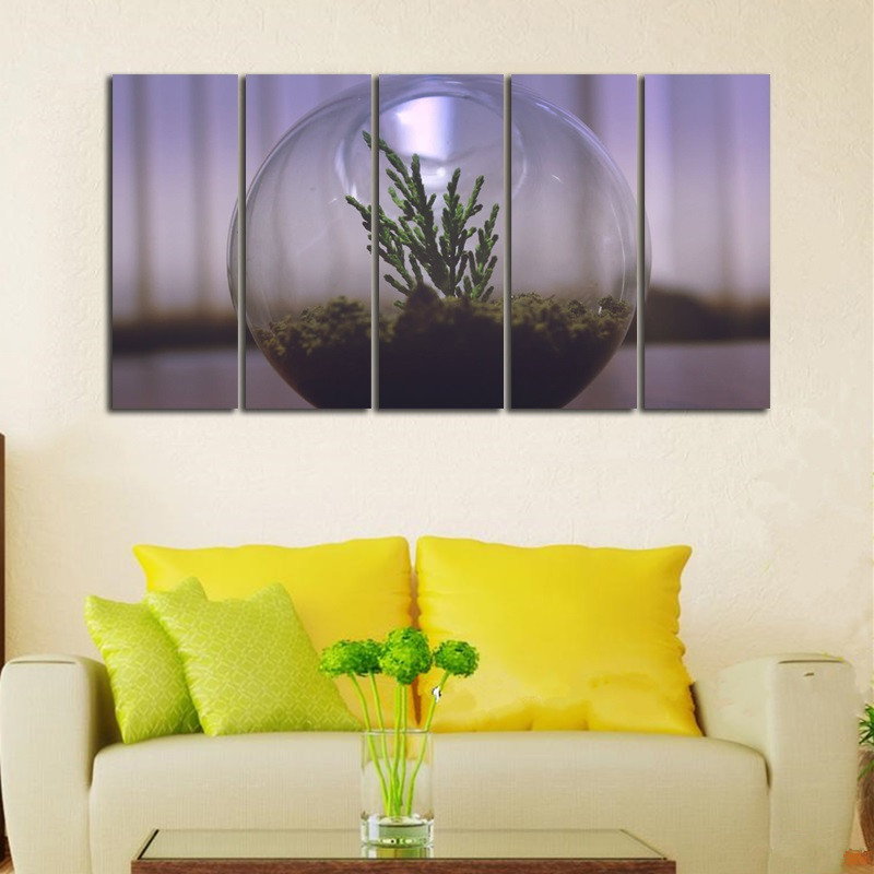 ALMUDENA Unframed 5 Pieces/Set Cute Potted Plants Painting Canvas ...