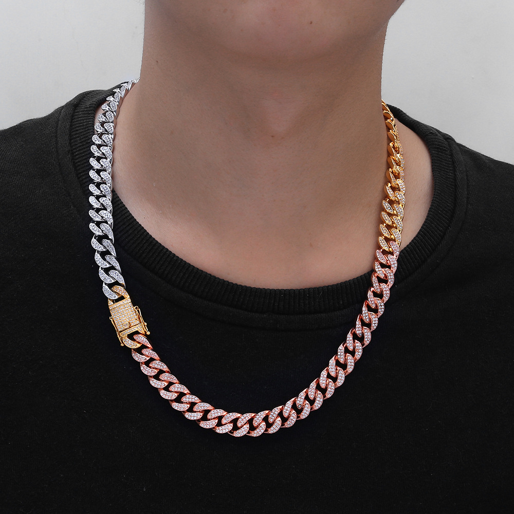 18 30 12mm Micro Paved Zircon Rose Gold Miami Curb Cuban Chain Necklace for Men Hip