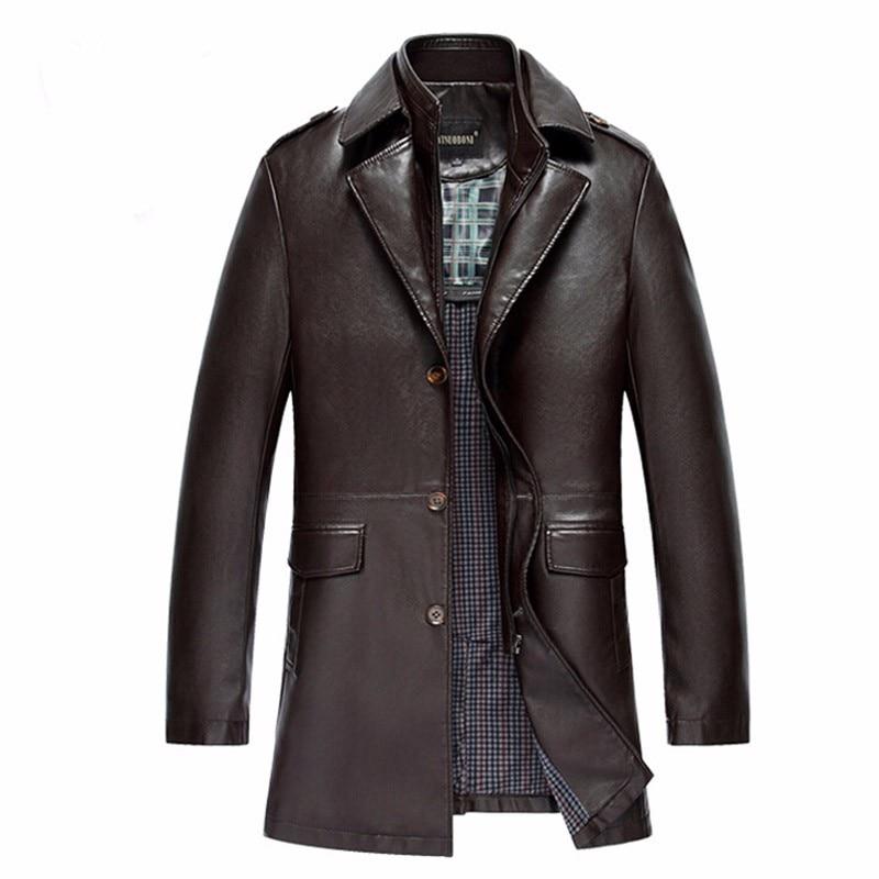2018 New Arrival Mens Leather Jacket Men Coat Brand Mens Leather Bomber Jacket Blazers Homme Long Leather Coat