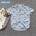 Crianças de Algodão Curto-de Mangas Compridas Gola Camisa Do Menino Bonito Carro Cheio Impressa Camisa de Manga Curta