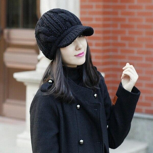 Invierno gorros de punto casual Vintage mujeres visera sombrero ...