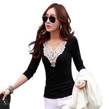 new 2017 winter autumn woman lady casual cotton lace shirt tee top long sleeve V-Neck Blouse basic patchwork blusas M~XXL D0453