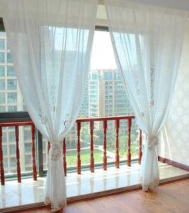 Image 4 - ZHH 完成カーテンユーロ牧歌的な編み中空寝室のカーテンシンプルなリビングルームのカーテン綿リネン窓カーテン装飾