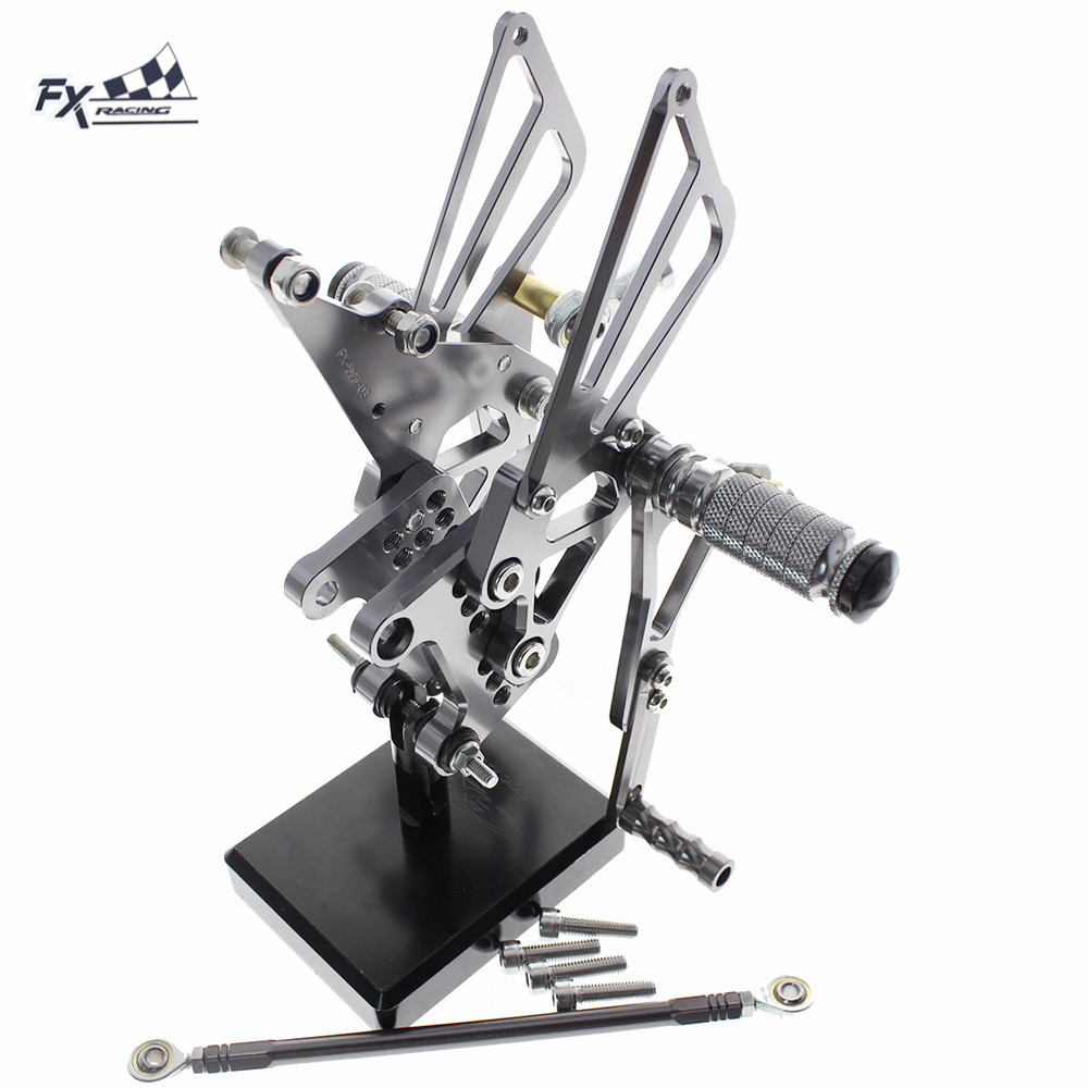 CNC Adjustable Motorcycle Foot Pegs Rest Footpegs Pedals Rearset Footrest Rear Set For TRIUMPH Speed Triple