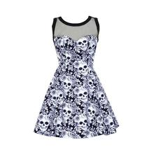 Women Dress 3XL Oversize Gothic Floral Skull Mesh Splicing Dresses Mini Sleeveless Sexy 2017 Summer A-Line Casual Cute Fashion