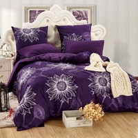 LILIYA 4 6Pieces Luxury Bedding Set Romantic Pillowcase Sheet With Elastic Cozy Duvet Cover M