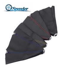 SPEEDWOW Universal Leather Short Shifter Collars Red Yellow Blue Black Stitch Shift Knob Boot Cover MT/AT