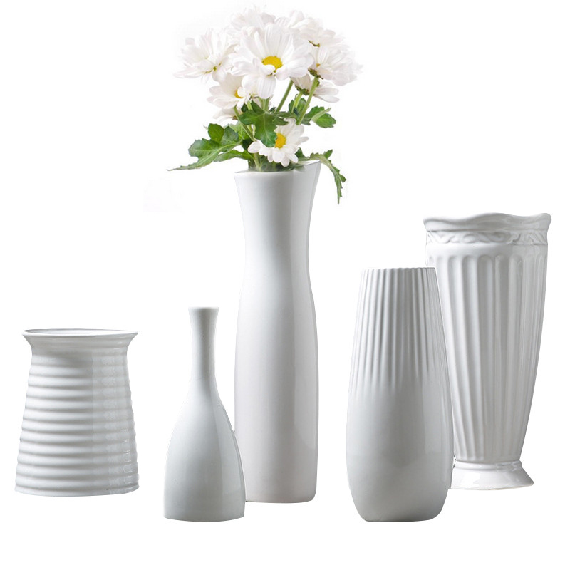 Solid White Vase Ceramic Home Decorative Flower Pots Planters Home Vase Accent Decor ...