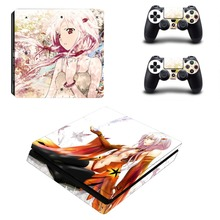 Amine Decal Skin For PS4 Slim Console Sticker For Sony Playstaion 4 PS4 Slim Skins + 2Pcs Controller Protective Cove