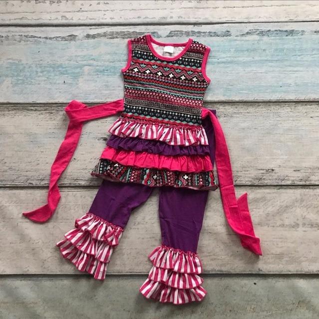 summer cute baby girls suit kids boutique clothing sets ruffles capri sets girls damask belt cotton Aztec sleeveless