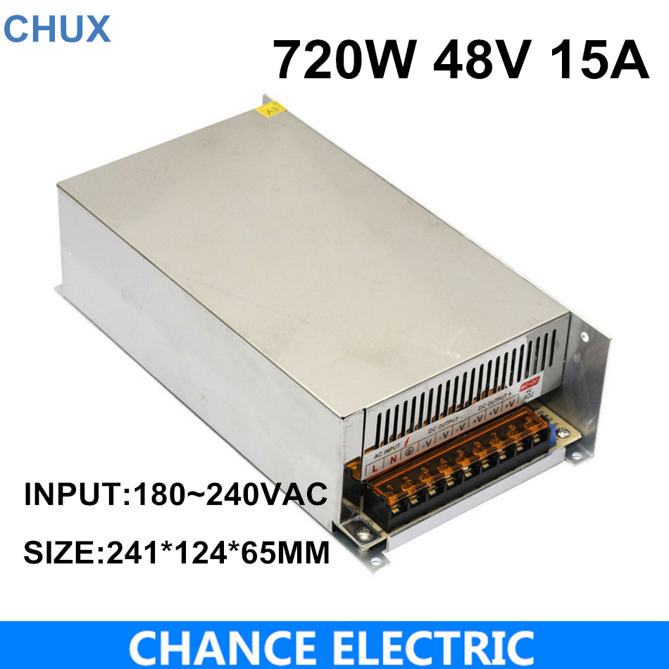 High power switching power supply 720W 48V 15A switching power supply AC to DC for LED strip light (S-720-48) meanwell 12v 350w ul certificated nes series switching power supply 85 264v ac to 12v dc