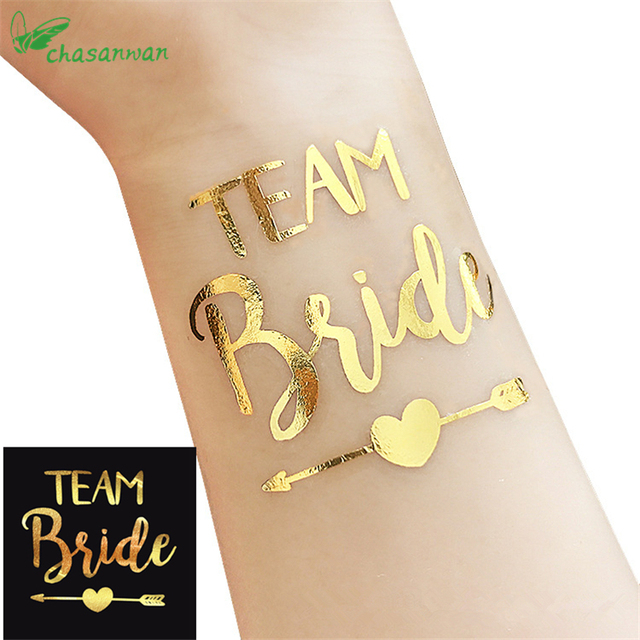 1Pcs Gold Team Bride Temporary Tattoo Stickers Bachelorette Party Bride To Be Bridal Shower Party Favors Wedding Decoration,Q