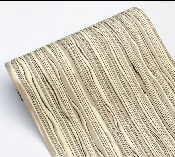 1Pieces  Length: 2.5 Meters  Thickness:0.5mm  Width: 60cm Science Persimmon Skin 596 Wood Veneer Strap(Back Non-woven)