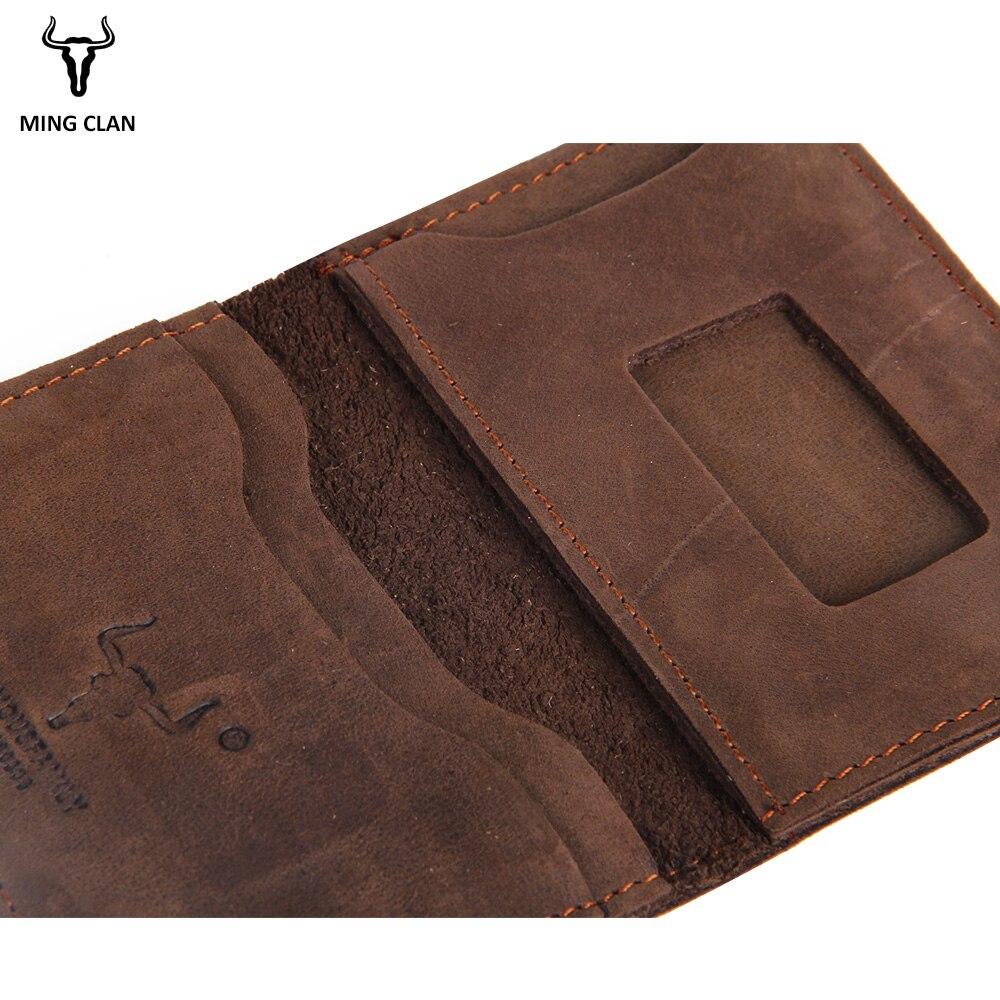 Mingclan Plånbok Crazy Horse Slim Mini Plånbok Genuin Läder - Plånböcker - Foto 6