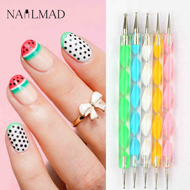 5Pcs 2 Way Dotting Tools Marbling Tool Nail Art Dotticure Doting Pen