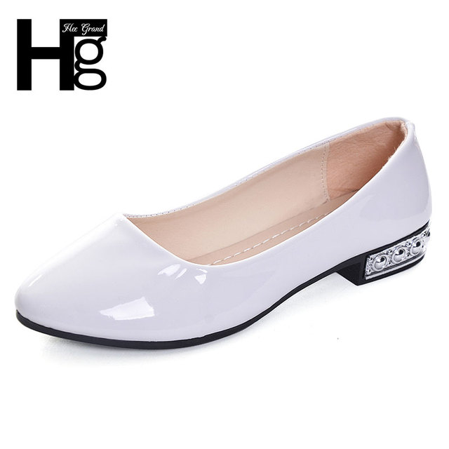 HEE GRAND Women Work Pumps Concise Design Vintage Patent Leather Shallow Slip-on Low Square Heel Shoes for Woman XWD5302