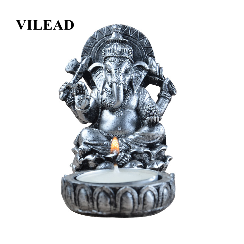 VILEAD 8.5cm Resin Thai Elephant God Candlestick Figurines Antique Statue Temple Buddhist Crafts Candle Holder Decoracion Hogar