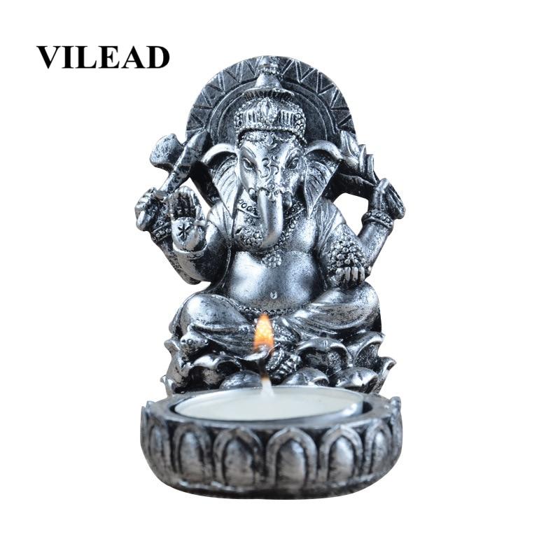 VILEAD 8.5cm Resin Thai Elephant God Candlestick Figurines Antique Statue Temple Buddhist Crafts Candle Holder Decoracion Hogar