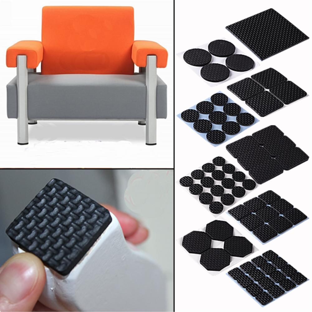 16 Pcs Non-slip Self Adhesive Furniture Rubber Table Chair Feet Pads Round Square Sofa Chair Leg Sticky Pad Floor Protectors Mat