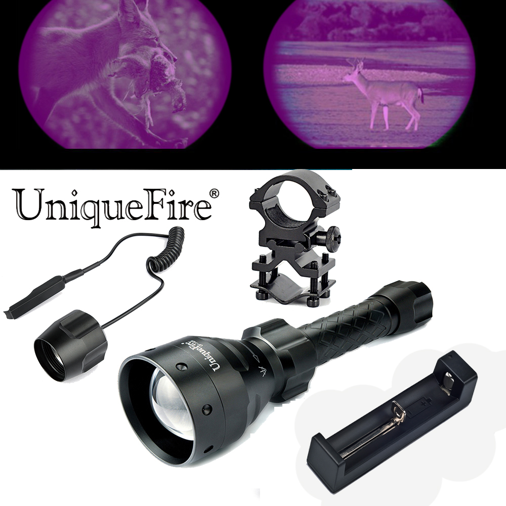 UniqueFire 1405 Hunting Flashlight 3 Modes Night Vision Torch IR 940nm Zoomable Lamp Torch+Scope Mount+Rat Tail+ USB Charger waterproof flashlight uniquefire infrared night vision 1503 ir 940nm zoomable led flashlight charger tactical remote scope mount