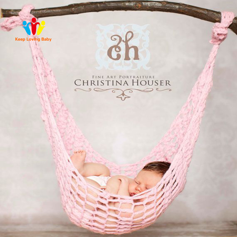 Newborn Baby Crochet Hammock Folding Baby Crib Infant Portable Beds Photography Props Knitted Sleeping Bed Toddler Swing